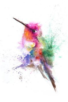 Hummingbird, Bird, Painting, Original Watercolor Painting, Color bird, Boba…