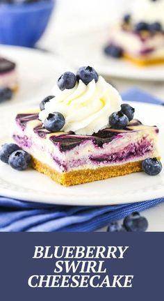 This Blueberry Swirl Cheesecake is easy to make and perfect for a group! It has a buttery graham cracker crust, creamy filling and sweet blueberry swirl topping! Enjoy year-round with frozen or fresh berries! Easy Blueberry Cheesecake Recipe, Blueberry Topping, How To Make Cheesecake, Best Cheesecake, Blueberry Sauce, Cheesecake Recipes, Graham Cracker Crust, Graham Crackers, Lemon Juice Uses
