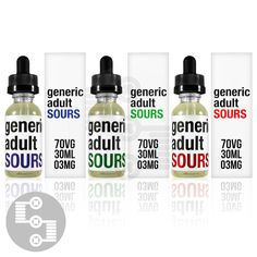 Generic Adult Sours is exactly what it says: simple, sweet and sour hard candy flavors.   https://www.strictlyecig.com/generic-adult-sours.html
