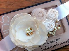 SALE Ivory and Gold Rosette Sash with  by CherryBlosomBoutique, $43.00
