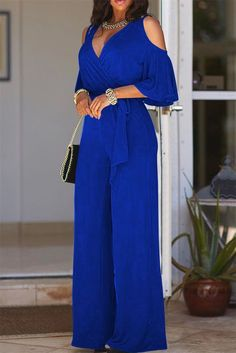 We're borderline obsessed with this ultra cool elegant jumpsuit definitely one of our new favorites! This is a plain, short sleeve, v neck, all-in-one jumpsuit. This regular jumpsuit is made from polyester Blue Jumpsuits, Playsuits, Jumpsuits For Women, Fashion Jumpsuits, Off Shoulder Jumpsuit, Vetement Fashion, Jumpsuit Outfit, Sequin Jumpsuit, Black Jumpsuit