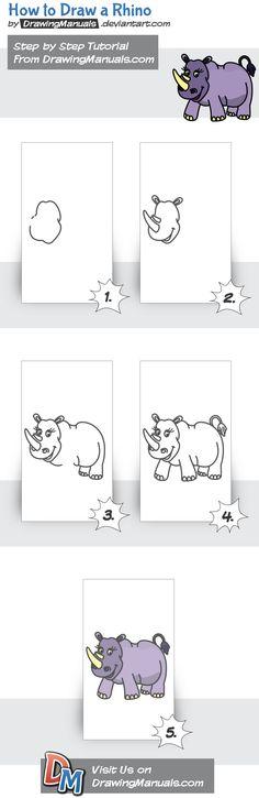 How to Draw a Rhino Step-by-Step https://itunes.apple.com/app/id1098056720 https://play.google.com/store/apps/details?id=com.aku.drawissimo