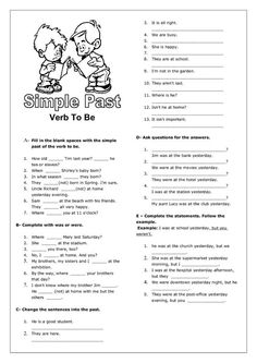Simple Past Tense for verb (to be) worksheet (INSPIRATION - too hard for my girls):