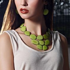 Eco-Friendly Gema Necklace in Lime - Hugssy.com