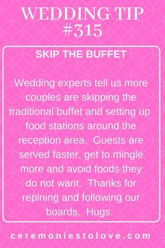 Wedding Checklist Here is a wedding food tip that will get your guests served faster And quick service means happy wedding guests. When you meet with wedding venues and caterers, ask if this is an option for taking your wedding reception up a level. Wedding Quotes, Wedding Advice, Wedding Planning Tips, Wedding Planner, Wedding Ideas, Wedding Stuff, Budget Wedding, Wedding Inspiration, Wedding Decorations
