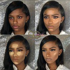 Step by step highlight and contour for woc, woc foundation and concealer routine tutorial Contour Makeup, Flawless Makeup, Gorgeous Makeup, Make Up Looks, Black Girl Makeup, Girls Makeup, Dark Skin Makeup, Natural Makeup, Natural Eyeshadow