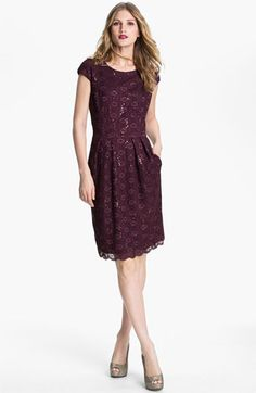 Alex Evenings Sequin Lace Overlay Sheath Dress | Nordstrom-$140  Don't know about the sequins... Also in a silvery grey