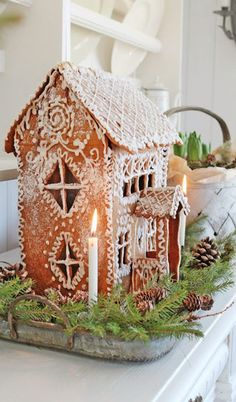 Gingerbread (by Vibeke Design) Gingerbread House Designs, Christmas Gingerbread House, Noel Christmas, Christmas Treats, Christmas Baking, All Things Christmas, Winter Christmas, Christmas Cookies, Christmas Decorations