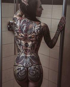 Full rear body tattoo #tattoos