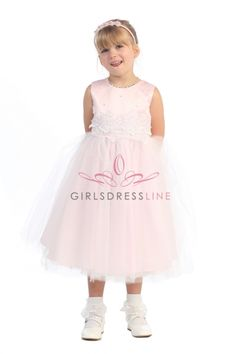 Pink Lace Accented Bodice with Tulle Flower Girl Dress KC-D1098-PK on www.GirlsDressLine.Com
