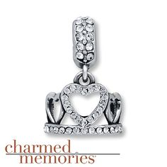 Embellished with clear SWAROVSKI ELEMENTS, this charm from Charmed Memories® features a crown fit for a princess. The dangle charm is styled in sterling silver. ©Disney
