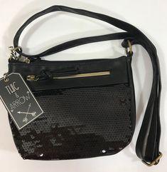 NWT Twig & Arrow Black Sequin Cross Body Purse Shoulder Bag Evening Casual Dress  | eBay