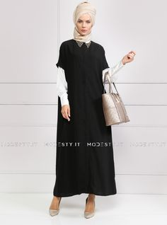 islamische kleidung fuer frauen mymodestystyle.com besuchen sie unsere shop #hijab #abayas #tuekische kleider #abendleider #islamischekleidung  Sleeveless Topcoat - Black - Refka - <p>Fabric Info:</p> <p>100% Polyester</p> <br> <p>Unlined</p> <p>Weight: 0.398 kg</p> <p>Measures of 38 size:</p> <p>Height: 144 cm</p> <p>Bust: 140 cm</p> <p>Waist: 134 cm</p> <p>Skirt Width: 146 cm</p> - SKU: 220286. Buy now at http://muslimas-shop.com/sleeveless-topcoat-black-refka.html