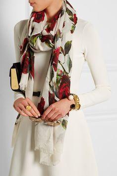 Dolce & Gabbana   Floral-print modal and cashmere-blend scarf   NET-A-PORTER.COM