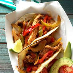 Baked Chicken Fajitas Recipe -I can't remember when or where I found this recipe, but I've used it nearly every week since. We like it with hot sauce for added spice. -Amy Trinkle of Milwaukee, Wisconsin