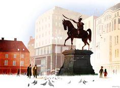 Statue of Ban Josip Jelacic, Zagreb, Croatia - ABC World Cities Book illustration by Jamey Christoph