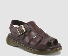Dr. Martens Men's Twohill Dark Brown Overdrive Leather Fisherman Sandal 15730201 #DrMartens #Fisherman