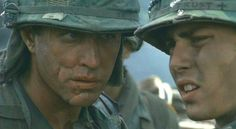 Tom Berenger and Johnny Depp in Platoon