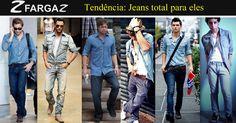 Para você homem que sempre está ligado nas últimas tendências, fique de olho pois o look total jeans continua em alta. Que tal aproveitar as férias para renovar o visual?