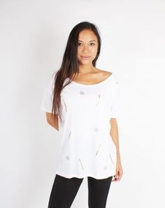 Gold and Glitter Oversized Shirt White