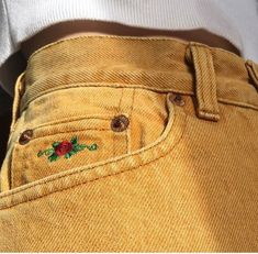 Vintage mustard jeans with rose embroidery