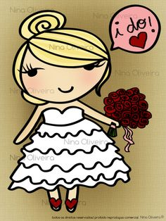 my cute bride, specially designed for my wedding invitation! that's right! it's a self portrait! <3 per Nina Oliveira ®