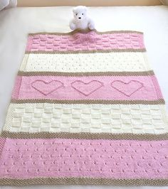 We Like Knitting: Baby Heart Blanket Knit Pattern
