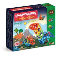 Magformers Mini Dinosaur Set (40 PCS) - Discover prehistoric animals and create your own Mini Stegosaurus, Triceratops, Pteranodon and more with Magformers Mini Dinosaur 40Pc Set! Dino enthusiasts will have endless hours of fun using 10 geometric shapes to follow along and build 6 different dinosaurs.