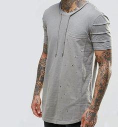 Image 3 of Black Kaviar Longline T-Shirt With Tie Neck Detail Gents T Shirts, Polo T Shirts, Cut Shirts, New T Shirt Design, Shirt Designs, Custom Made T Shirts, My T Shirt, Men Looks, Mens Tees