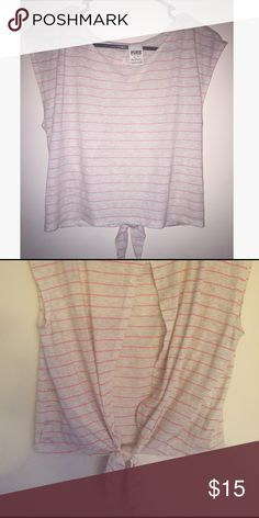VS PINK Crop Top! Adorable PINK striped crop top! This is such a cute shirt, has an open back with ties on the bottom. And accented with the logo down the side. Very comfortable and soft. Very cute with jeans, shorts, or anything high waisted! Worn a few times but great condition. make an offer! PINK Victoria's Secret Tops Crop Tops