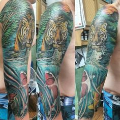 Tiger and koi fish in a sleeve