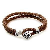 Sterling silver and leather flower bracelet, 'Brown Lotus'.