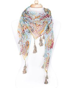 Take a look at the Tickled Pink Beige Floral Tassel Scarf on #zulily today!