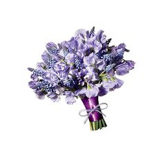 Brides.com: Wedding Color Scheme: Lavender with Silver. Bouquet of sweet peas and muscari Browse more wedding bouquets.