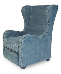 Who wouldn't be comfortable in a denim chair? Love this idea. Denim Levittown Wingback Chair #zulilyfinds
