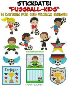 Stickmuster - Fußball-Kids für den 13x18cm Rahmen - ein Designerstück von Faden-Zauber-4U bei DaWanda €10.50
