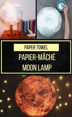 Light up your room with a papier mâché moon!