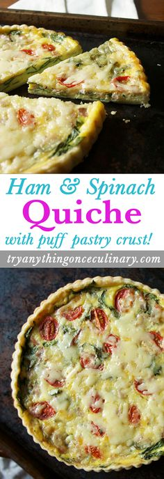 Ham and Spinach Quiche from tryanythingonceculinary is such an easy brunch recipe (especially for Mother's Day or Easter Sunday)! Flaky puff pastry, ham and fresh spinach bake together with white cheddar and cherry tomatoes to make a quiche that will be a big hit.