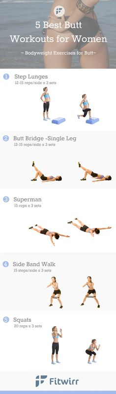 Is your butt saggy and out of place? Here are 5 best bikini butt shaping exercises to tone, lift and round your backside just in time for your bikini reveal. #bikinibutt #bikinibody #bikini #glutes