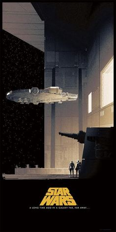 Star Wars - movie poster - Matt Ferguson. The Millennium Falcon being guided into the Death Star by its tractor beam