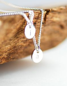Haloa necklace - double layered sterling silver initial necklace, www.kealohajewelry.etsy.com maui, hawaii