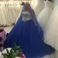 Luxury Crystals Rhinestones Wedding Dresses Sweetheart Plus Size Tulle Vestidos De Casamento Royal Blue Wedding Gowns