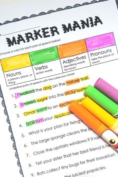 Color-coding parts of speech with markers makes an otherwise dry topic engaging!