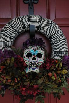 Dia De Los Muertos/Day of the Dead~Hand painted Wreath Sugar Skull