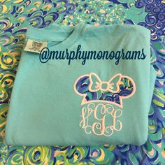Lilly Pulitzer Minnie Mouse Disney Comfort Colors T-shirts by Murphy Monograms! Perfect for a trip to Disney!! Lilly Lagoon fabric on a Lagoon Blue tshirt
