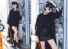 Samantha Mariko - Bershka Cardigan, Asos Choker, Rag & Bone T Shirt, The Dayz Tokyo Skirt, Reebok Cap, Zerouv Sunglasses, Louis Vuitton Bag, Puma Sneakers - Long cardi