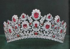 Tiara with rubies set in scrolling diamond foliage: part of The French Crown Ruby and Diamond Parure, made in 1816 by the court jeweller Ménière and his son-in-law Bapst on King Louis XVIII's request for Marie-Thérèse, Duchess of Angouleme.