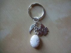 """""""Angels Watching Over Me"""" with Healing HOWLITE Gemstone Bag charm / keyring"""