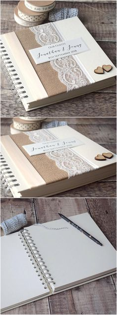 Hessian & Lace Personalised Wedding Guest Book. Handmade with Rustic Burlap and Vintage Ivory Lace with Wooden Hearts #weddings #rusticweddings #weddingideas