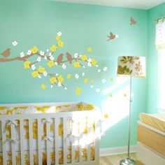 Cherry Blossom Branch with Birds  Kids Vinyl Wall by SimpleShapes, $58.00
